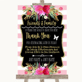 Gold & Pink Stripes Photo Guestbook Friends & Family Customised Wedding Sign
