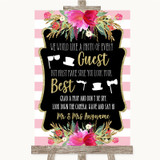 Gold & Pink Stripes Photo Prop Guestbook Customised Wedding Sign