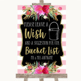 Gold & Pink Stripes Bucket List Customised Wedding Sign