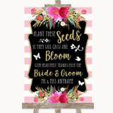 Gold & Pink Stripes Plant Seeds Favours Customised Wedding Sign