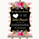 Gold & Pink Stripes Puzzle Piece Guest Book Customised Wedding Sign
