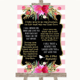 Gold & Pink Stripes Romantic Vows Customised Wedding Sign