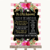 Gold & Pink Stripes Rules Of The Dance Floor Customised Wedding Sign