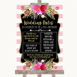 Gold & Pink Stripes Rules Of The Wedding Customised Wedding Sign