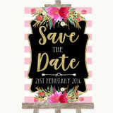 Gold & Pink Stripes Save The Date Customised Wedding Sign