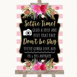 Gold & Pink Stripes Selfie Photo Prop Customised Wedding Sign