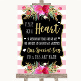 Gold & Pink Stripes Sign a Heart Customised Wedding Sign