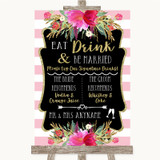 Gold & Pink Stripes Signature Favourite Drinks Customised Wedding Sign