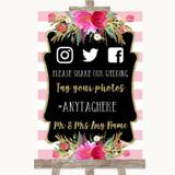 Gold & Pink Stripes Social Media Hashtag Photos Customised Wedding Sign