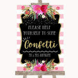 Gold & Pink Stripes Take Some Confetti Customised Wedding Sign