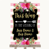 Gold & Pink Stripes This Way Arrow Left Customised Wedding Sign