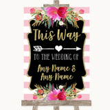 Gold & Pink Stripes This Way Arrow Right Customised Wedding Sign