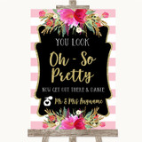 Gold & Pink Stripes Toilet Get Out & Dance Customised Wedding Sign
