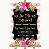 Gold & Pink Stripes We Are Getting Married Customised Wedding Sign