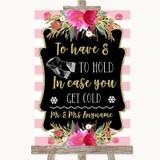 Gold & Pink Stripes Wedding Blanket Scarf Customised Wedding Sign