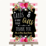 Gold & Pink Stripes Cards & Gifts Table Customised Wedding Sign