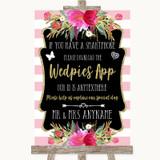 Gold & Pink Stripes Wedpics App Photos Customised Wedding Sign