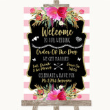 Gold & Pink Stripes Welcome Order Of The Day Customised Wedding Sign
