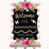 Gold & Pink Stripes Welcome To Our Engagement Party Customised Wedding Sign