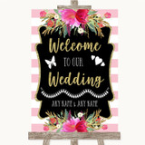 Gold & Pink Stripes Welcome To Our Wedding Customised Wedding Sign
