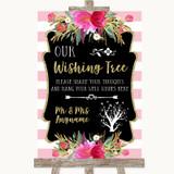 Gold & Pink Stripes Wishing Tree Customised Wedding Sign