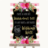 Gold & Pink Stripes Wishing Well Message Customised Wedding Sign