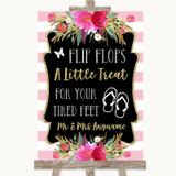 Gold & Pink Stripes Flip Flops Dancing Shoes Customised Wedding Sign