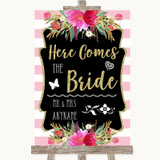 Gold & Pink Stripes Here Comes Bride Aisle Customised Wedding Sign