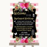 Gold & Pink Stripes No Phone Camera Unplugged Customised Wedding Sign