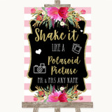 Gold & Pink Stripes Polaroid Picture Customised Wedding Sign