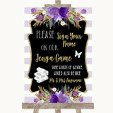 Gold & Purple Stripes Jenga Guest Book Customised Wedding Sign