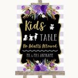 Gold & Purple Stripes Kids Table Customised Wedding Sign