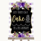 Gold & Purple Stripes Let Them Eat Cake Customised Wedding Sign