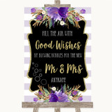 Gold & Purple Stripes Blow Bubbles Customised Wedding Sign