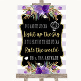 Gold & Purple Stripes Light Up The Sky Rule The World Customised Wedding Sign
