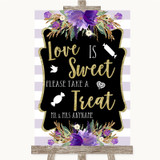 Gold & Purple Stripes Love Is Sweet Take A Treat Candy Buffet Wedding Sign