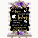 Gold & Purple Stripes Loved Ones In Heaven Customised Wedding Sign
