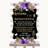 Gold & Purple Stripes No Phone Camera Unplugged Customised Wedding Sign