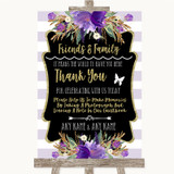 Gold & Purple Stripes Photo Guestbook Friends & Family Customised Wedding Sign