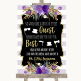 Gold & Purple Stripes Photo Prop Guestbook Customised Wedding Sign