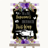 Gold & Purple Stripes Photobooth This Way Left Customised Wedding Sign