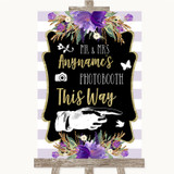 Gold & Purple Stripes Photobooth This Way Right Customised Wedding Sign
