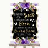Gold & Purple Stripes Plant Seeds Favours Customised Wedding Sign