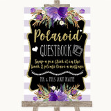 Gold & Purple Stripes Polaroid Guestbook Customised Wedding Sign