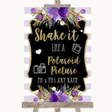 Gold & Purple Stripes Polaroid Picture Customised Wedding Sign