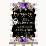 Gold & Purple Stripes Popcorn Bar Customised Wedding Sign