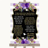 Gold & Purple Stripes Romantic Vows Customised Wedding Sign