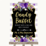 Gold & Purple Stripes Candy Buffet Customised Wedding Sign