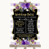 Gold & Purple Stripes Rules Of The Wedding Customised Wedding Sign