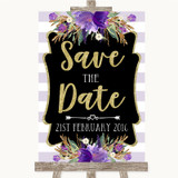 Gold & Purple Stripes Save The Date Customised Wedding Sign